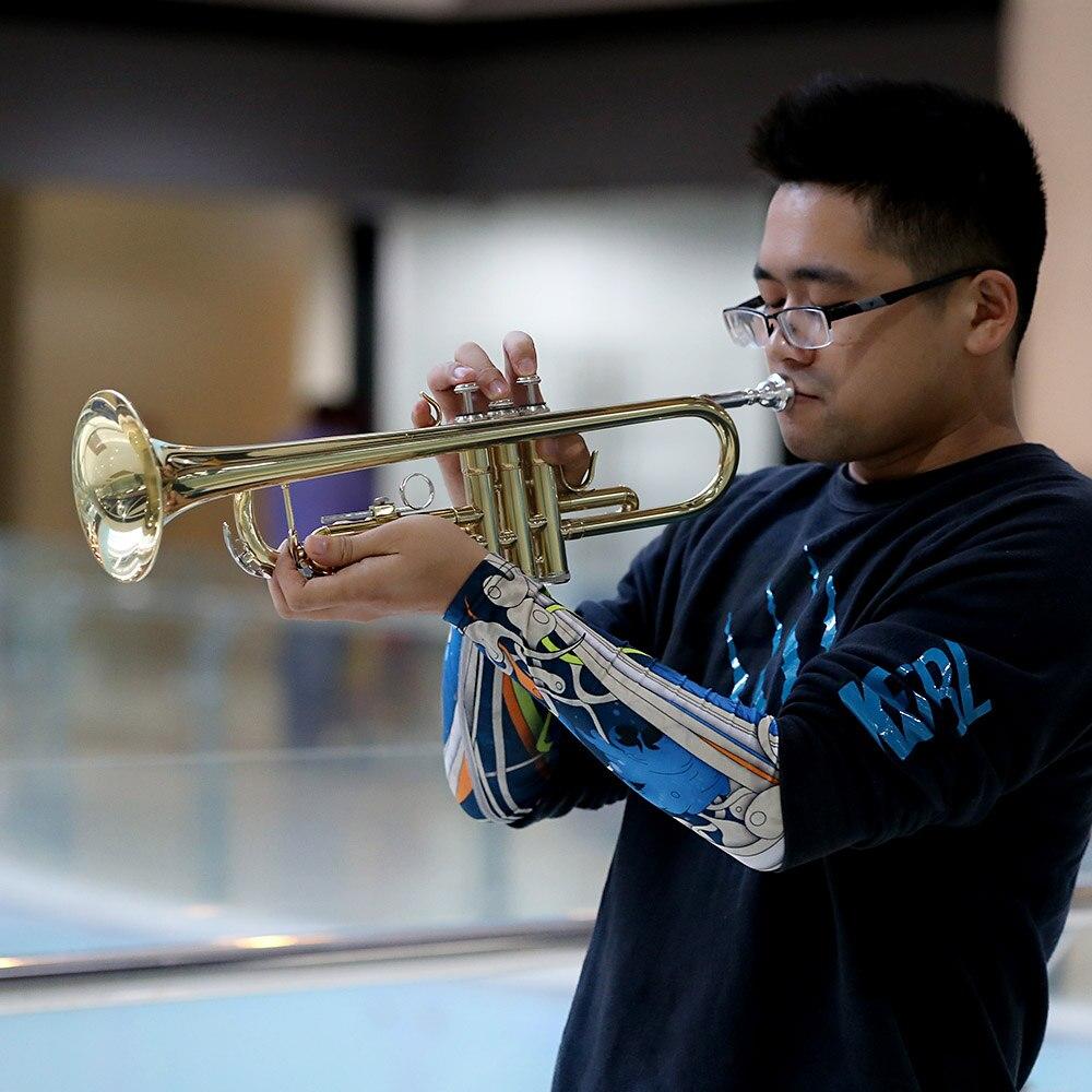 Ammoon Bb труба плоская латунь позолоченный Изысканный прочный музыкальный инструмент с мундштуком перчатки ремень Чехол - 5