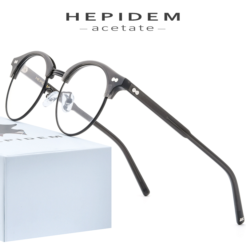 HEPIDEM Acetate Optical Glasses Frame Men Retro Vintage Round Eyeglasses Nerd Women Prescription Spectacles Myopia Eyewear 9123