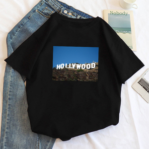 Hollywood letter print ins Harajuku casual women's fashion short sleeve loose large size O-neck tees new Ulzzang fun T-shirt