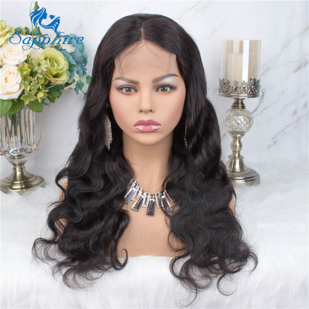 Hfe65ce86b7bd4513ba3407c6222e51df1 Sapphire Brazilian Remy Human Hair Wigs 4X4 Pre Plucked Brazilian Body Wave Lace Closure Wigs With Baby Hair For Black Women