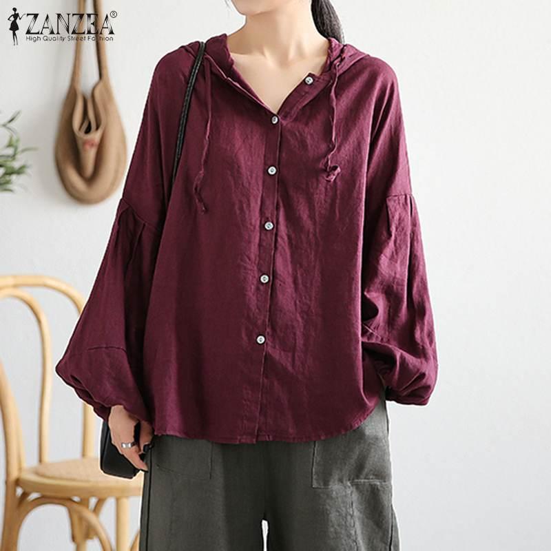 Весенняя женская блузка размера плюс ZANZEA, повседневные толстовки с длинным рукавом, осенняя винтажная однотонная хлопковая свободная туни...