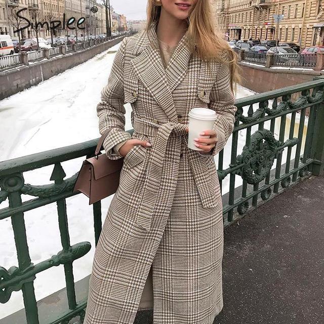Simplee Elegant plaid women blend coat Buttons sash belt female long tweed coats Long sleeve autumn winter ladies overcoats 2019
