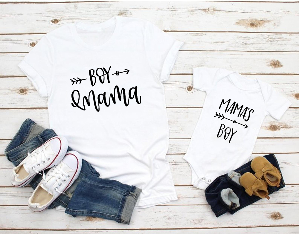 1pcs Mom And Son Matching Clothes Family Look 2019 Summer Bestfriend Shirts Mama Little Boy Baby Bodysuit Rompers Mommy Tshirt