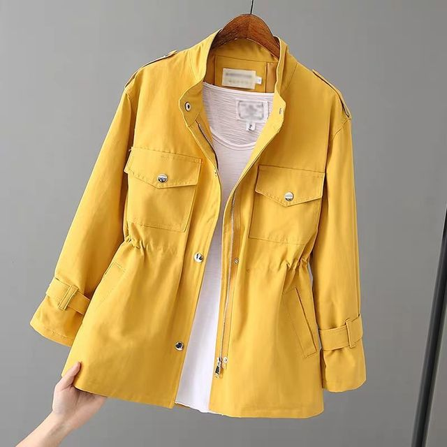 Autumn Peonfly Fashion 2021 Women's Casual Windbreaker Coat Stand Collar Overcoat Outerwear Coat Solid Color Lace Up Loose Coat 6