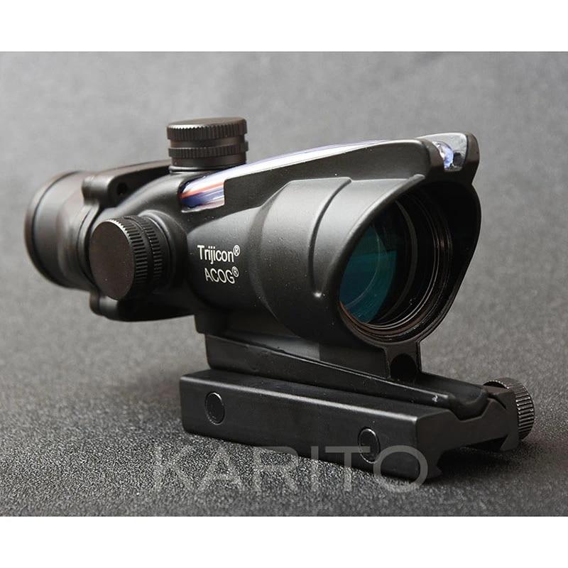 Tactical Trijicon Acog 4x32 Red Optical Fiber Rifle Scope Picatinny Rail Mount Waterproof M1390 4x32 Rifle Scope Rifle Scopeacog Style Aliexpress
