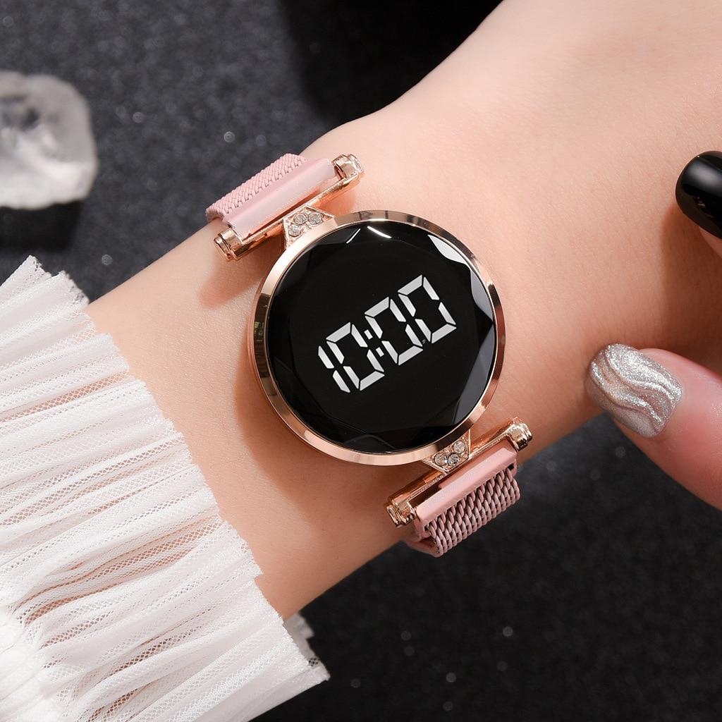 Magnet Alloy Mesh Belt  LED Ladies Watch Rhinestone Electronic Dress Watch Women Personality Touch Wristwatches Zegarek Damski