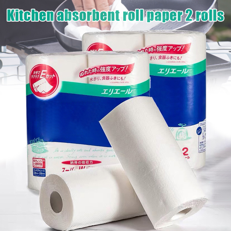 2 Roll Kitchen Paper Towel Roll Pulp Tissue Strong Water Oil Absorption Home Cleaning New TT@88