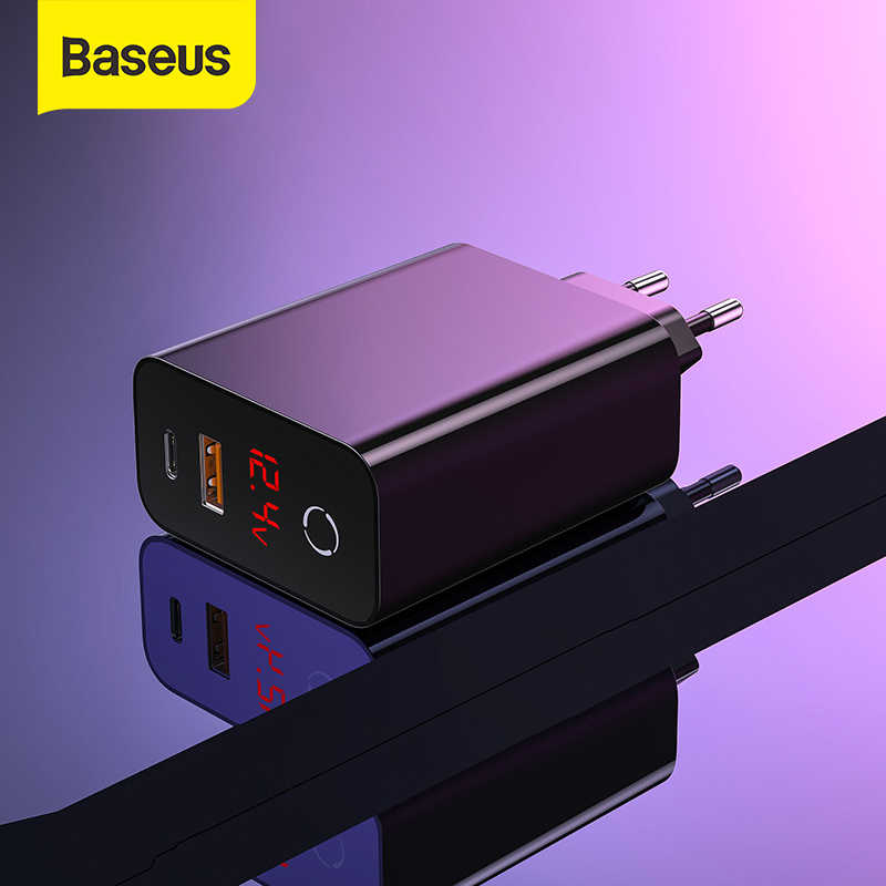 Baseus Dual Usb Lader 45W Ondersteuning Quick Charge 4.0 3.0 Type C Pd Fast Charger Met Digitale Display Forip forsamsung Forxiaomi