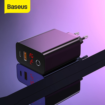Baseus ładowarka z podwójnym portem USB 45W wsparcie szybkie ładowanie 4 0 3 0 typ C PD szybka ładowarka z cyfrowym wyświetlaczem ForiP ForSamsung ForXiaomi tanie i dobre opinie Podróży Ac Źródło ROHS CCFSEU907 Qualcomm szybkie ładowanie 4 0 100-240 V 0 9A Baseus Digital Display Fast Charger