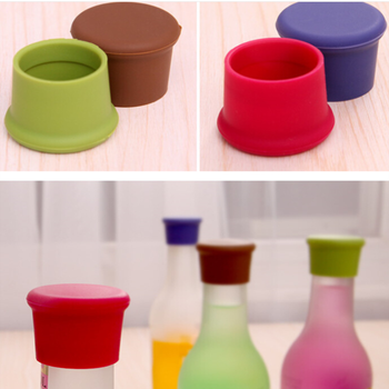 1PC Silicone Bottle Cap Candy Color Food Grade Silicone Fresh-keeping Cap Fresh-keeping Bottle Stopper Kitchen Bar Accessories image