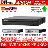 Dahua NVR2104HS P 4KS2 NVR2108HS 8P 4KS2 4CH 8CH POE NVR 4K Recorder Support HDD 4/8CH POE For CCTV System Security Kit.