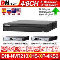 Dahua NVR2104HS-P-4KS2 NVR2108HS-8P-4KS2 4CH 8CH POE NVR 4K enregistreur Support HDD 4/8CH POE pour système de vidéosurveillance Kit de sécurité.