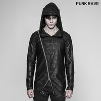 Personality fashion Knitt weater PU Long Sleeve Shirts Punk rock metal irregular zipper Men Pullovers Hoodie PUNK RAVE OT 532WYM