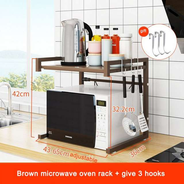 Rangement Cuisine Double Deck Retractable Microwave Oven Rack Is