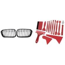 2 Set Car Accessories: 1 Set Front Hood Grille Single Slat Kidney Grille & 1 Set Car Film Tools Squeegee Scraper Kit