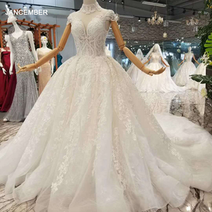 Image 1 - LSS068 1 Sumptuous Wedding Dress 2020 White High Neck Cap Sleeves Sexy Back Long Ball Gown High Quality