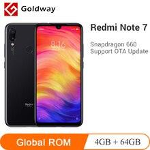 Мобильный телефон Xiaomi Redmi Note 7 с глобальной прошивкой, 4 Гб ОЗУ, 64 Гб ПЗУ, Восьмиядерный процессор Snapdragon 660, 48 МП, две камеры, 4000 мАч, полный экран 6,3 дюйма