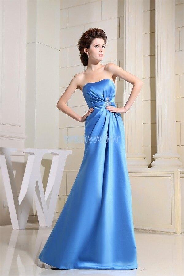 Free Shipping 2016 Formal Dress New Design Blue Long Brides Maid Dress Beading Custom Size/color Floor Length Evening Dresses