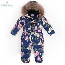 803 Children Russia Winter  30 Degree Thicken Rompers Baby Boy Warm Hoodie Clothes Girls Windproof Snowsuit Down Jacket Jumpsuit