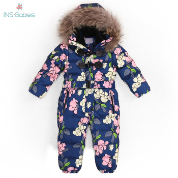 Children Russia Winter -30 Degree Thicken Rompers Baby Boys Warm Hoodie Clothes Girls Windproof Snowsuit Down Jacket Jumpsuit