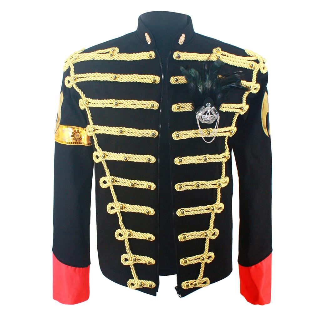 Rare Classic MJ Michael Jackson Black Blue Jacket In England Retro Slim Handmade Outwear