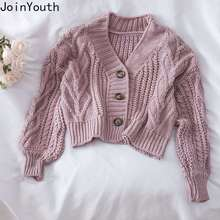 Cropped Cardigan Women Tops Knitwear Sueter V-Neck Long-Sleeve Casual Joinyouth Sweet