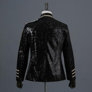 Image 4 - Shiny Sequin Blazer Men Cool Glitter Military Dress Tuxedo Men Blazer Suit Jacket Nightclub Stage Show Cosplay Blazer Masculino