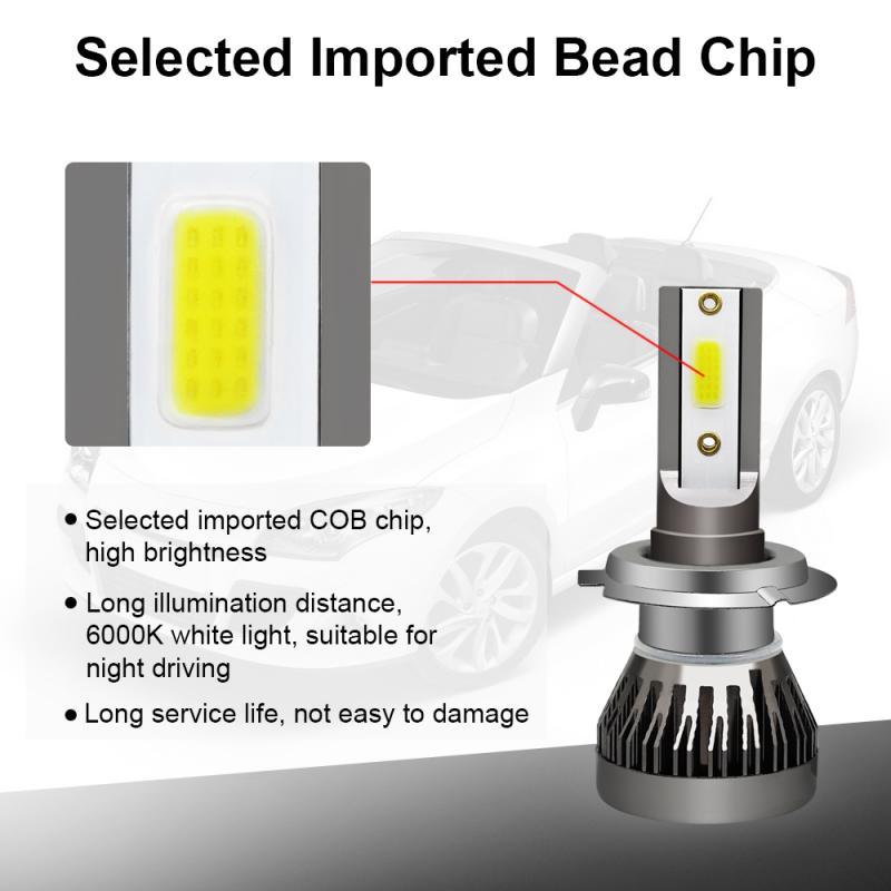 New H7 Car LED Headlight Kit 90W 12000LM Turbo Light Bulb 6000K Beam Angle 360 Degree Waterproof Car Accessories