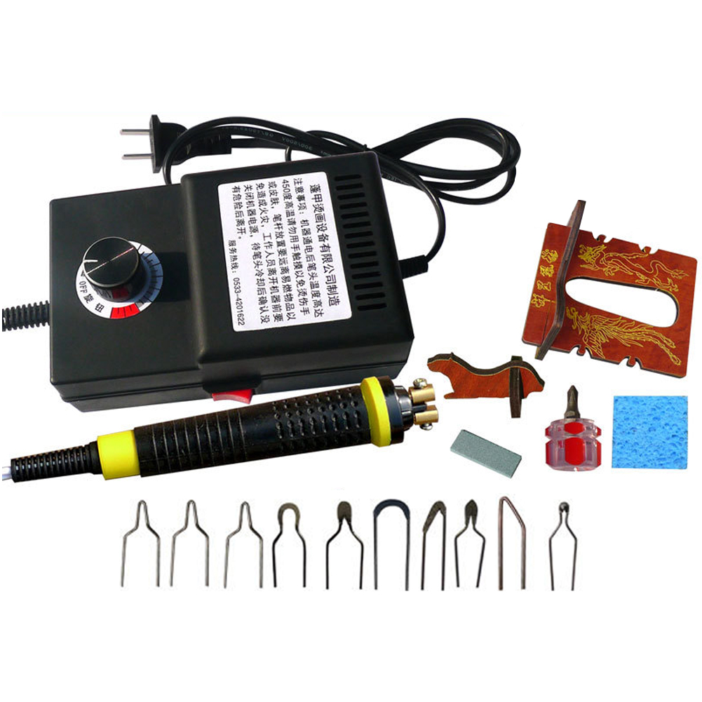With Screwdriver Durable 220V Portable Adjustable Temperature Pen Wood Pyrography Machine Set Multipurpose Burning Tool Carving