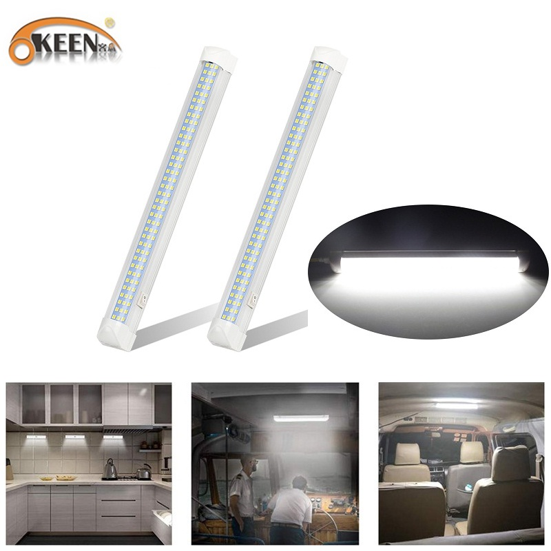 OKEEN 12V 108 LED Car Interior White Strip Lights 6W Interior Led Light Bar With Switch For RV Camper Boat Indoor Ceiling Light
