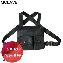 Molave hombres Cool Chest Bag Unisex estilo militar chaleco bolsos Street Trend Multi-función impermeable Oxford Chest Bag chaleco bolsa(China)