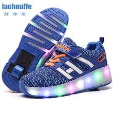 Детский Светильник; обувь с одним/двойным колесом для девочек; TPR подошва; Светодиодный; Светящиеся кроссовки; детская обувь с дышащей сеткой; обувь для катания на роликах