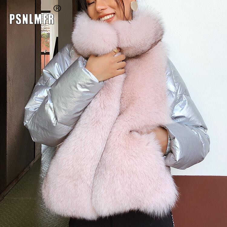 Woman Coat Fox-Fur-Trim-Collar Natural-Fur High-Quality Luxury White-Duck-Down Thickening title=