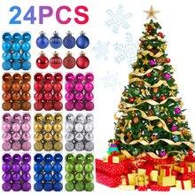 24 шт. 30 мм Рождественские елочные шары, вечерние украшения, Висячие Подвески, рождественские украшения для дома, подарок, Прямая поставка