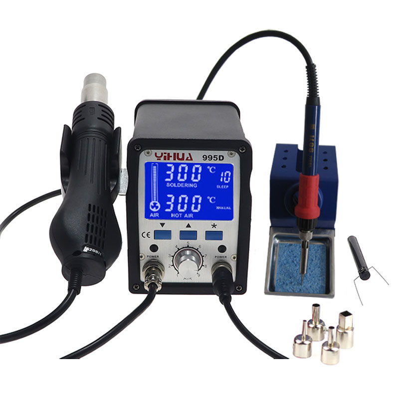 220V YIHUA 995D SMD Hot Air Gun Rework Soldering Station with Large-screen LCD Display