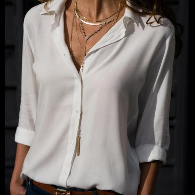 Casual Loose Women Blouse Shirts 2019 Autumn Basic V Neck Plus Size Blouse Long Sleeve Buttons White Shirt Women Tops Clothing 6
