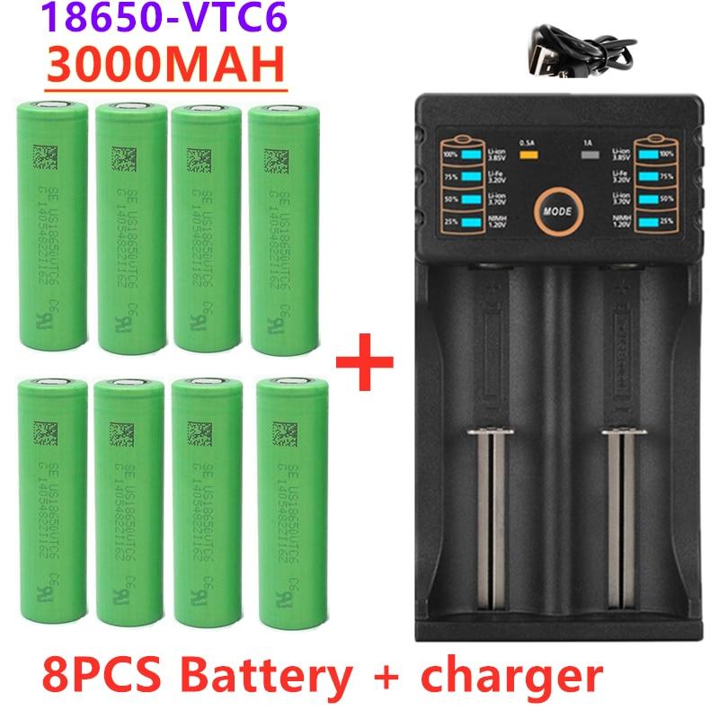 100% original 3.7 v 3000 mah 18650 bateria para us18650 sony vtc6 30a brinquedos ferramentas lanterna bateria + carregador usb|Baterias recarregáveis|   -