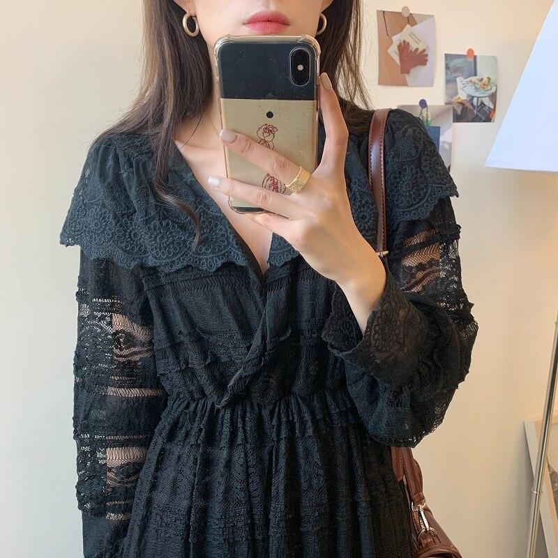 Hfe67bb9d303649a5be6602b82800dda8h - Spring V-Neck Long Sleeves Long Lace Midi Dress