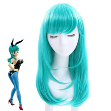 Dragon Ball Bulma Pruiken Medium Lange Rechte Pony Groen Hittebestendige Vezel Haar Cosplay Pruik(China)