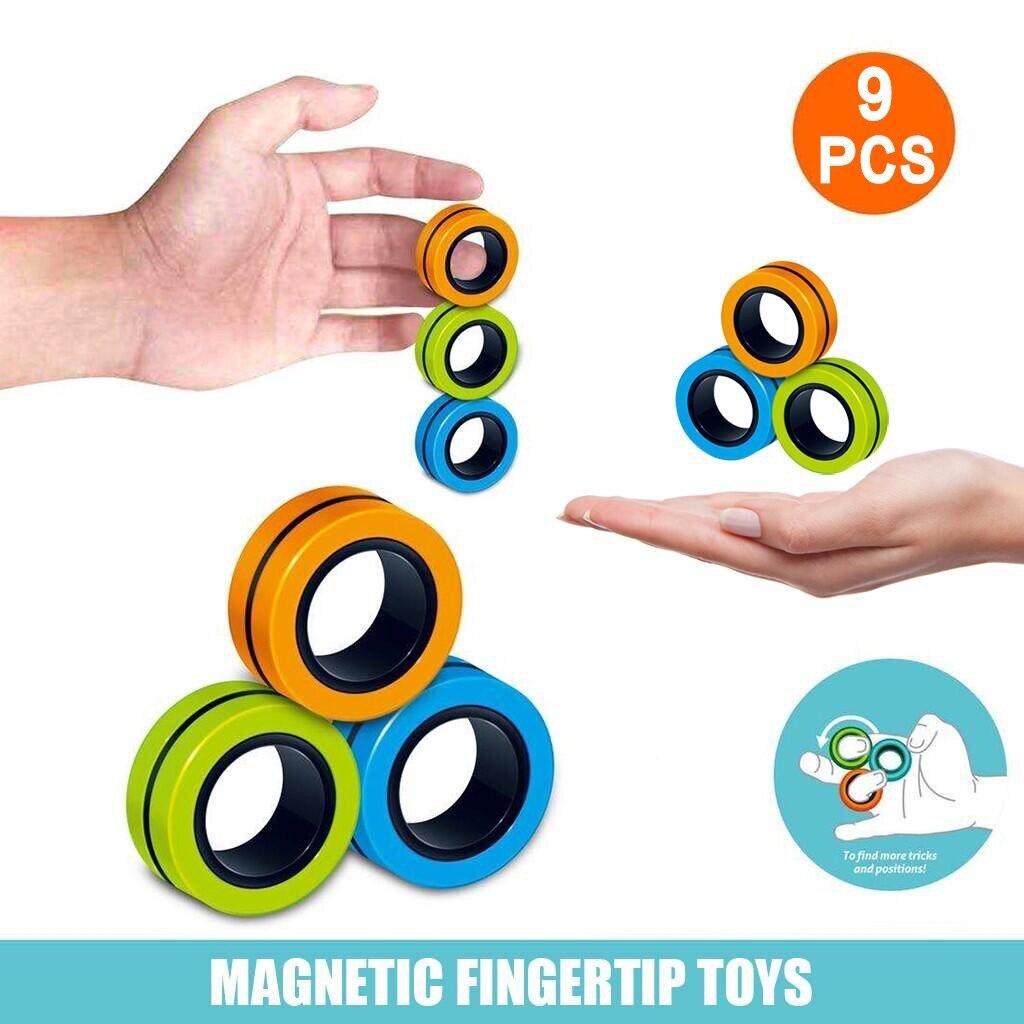 Bracelet-Ring Fidget-Toys Finger-Spinner Stress Magnetic Zabawki Antysresowe 6/9PCS img3