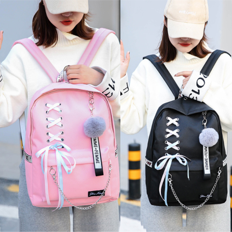 2019 Chain Canvas female book bag backpack 5pcs/set schoolbag school bag travel pack fashion Tassel women teenage teenagers girl