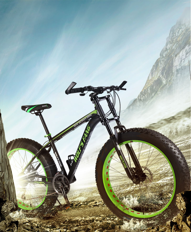 Hfe682fe6fad340d7b4546005eb535d90j wolf's fang Mountain Bike 21/24Speed bicycle Cross-country Aluminum Frame 26x4.0 Fat bike Snow road bicycles Spring Fork Unisex