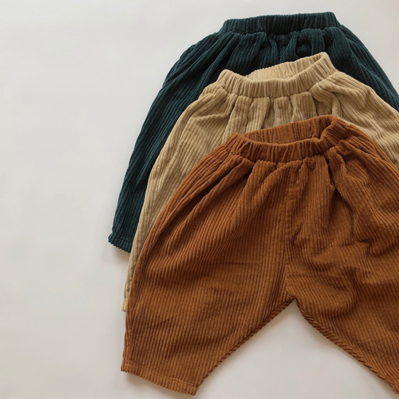 Kids Casual Elastic Waist Pant Solid Color Cotton Corduroy Trousers Korean Style Baby Boys Girls Pants Children's Clothing 2