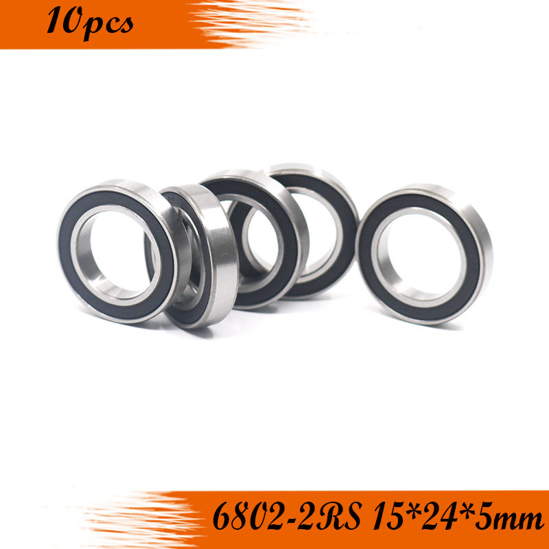 10pcs 6802 2rs ball <font><b>Bearing</b></font> 6802 ABEC-1 15x24x5 mm Thin Section <font><b>6802RS</b></font> Ball <font><b>Bearings</b></font> 6802-2RS 61802 RS image