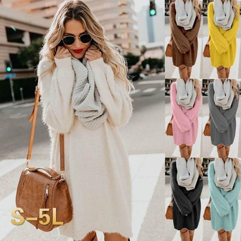 Turtleneck Long Sleeve Sweater Dress Women Autumn Winter Loose Tunic Knitted Casual Pink Gray Clothes Solid
