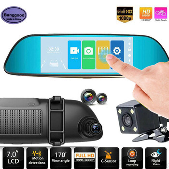 7 Inch Touch Screen Car DVR Video Recorder With Rear View Dual Lens Camera Mirror DVR Video Registrator Gravity Sensor Dash Cam image