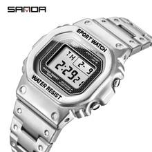 SANDA Top marka luksusowe męskie zegarki LED cyfrowy zegarek mężczyźni 5ATM Casual zegarek wodoodporny stal zegar Relogio Masculino 390