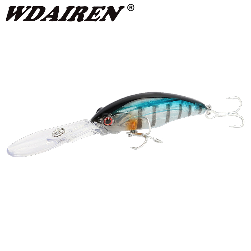 WDAIREN Deep Diving Minnow Fishing Lures 9.5cm 8g Lifelike Fish Swing Hard Bait High Quality Noise Lure Japan Fishing Tackle
