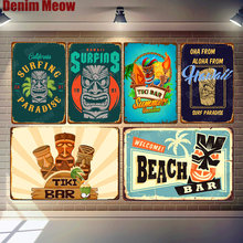 Tiki Bar Stickers Welcome Beach Bar Vintage Metal Tin Signs Bar Pub Cafe Home Decor Hawaii Surfing Wall Art Posters ZSS16