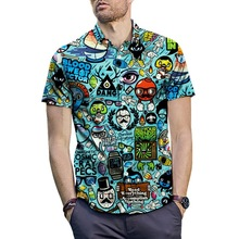 Plus Size 2XL Men Summer Casual Cartoon 3D Print Short Sleeve Tee Shirt Turn down Collar Blouse Hawaiian Top for Beach Holiday